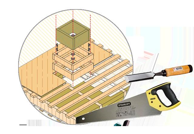 Отверстие в деревянном перекрытии
